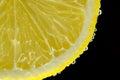Lemon water bubbles black background close-up macro Royalty Free Stock Photo