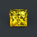 Lemon yellow gem square cut Royalty Free Stock Photo