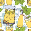 Lemonade background jugs glasses with ice Royalty Free Stock Photos