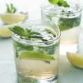 Lemonade cold fresh with lime and mint selective focus Royalty Free Stock Photography