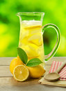 Lemonade a cold refreshing pitcher of fresh homemade Stock Image