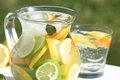 Lemonade detail of jug with fresh outdoor in summer day Royalty Free Stock Images