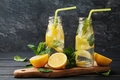 Lemonade drink of soda water, lemon and mint in jar on black background Royalty Free Stock Photo