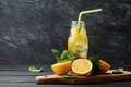 Lemonade drink of soda water, lemon and mint in jar on black background Royalty Free Stock Photo