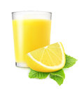 Lemonade glass of or lemon juice over white background Stock Images