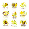 Lemonade green and yellow set for label design. Colorful vector Illustrations Royalty Free Stock Photo
