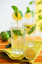 Lemonade with herbs Stock Photo