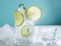 Lemonade with ice lime and rosemary Royalty Free Stock Photo