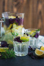 Lemonade with lemons, lime and red basil Royalty Free Stock Photo