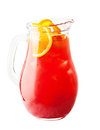 Lemonade Pitcher. Strawberry Lemonade Drink with Orange Royalty Free Stock Photo