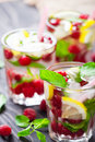 Lemonade with raspberry and lemon Royalty Free Stock Photo