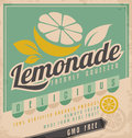 Lemonade retro poster design for ice cold vintage label for gmo free organic fruit product food and drink promotional ad template Royalty Free Stock Image