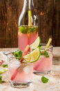 Lemonade with rhubarb, mint and lime. Royalty Free Stock Photo