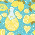 Lemonade seamless pattern with hand drawn abstract citrus fresh fruits. Royalty Free Stock Photo