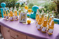 Lemonade table decorated with lemons and photo frame Royalty Free Stock Photo