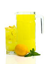 Lemonade on white pincher and glass fresh over Royalty Free Stock Image