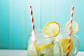 Lemonades in mason jars Royalty Free Stock Photo