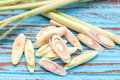 Lemongrass slice aromatic fresh fragrant tom yam ingredient background blue wood teak still life Stock Photography