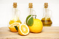 Lemons and bottle Royalty Free Stock Photo