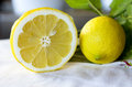 Lemons closeup of two fresh Stock Photo
