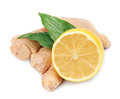 Lemons and ginger root Stock Photos