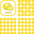 Lemons & Gingham Seamless Patterns Royalty Free Stock Photos