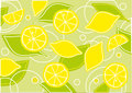 Lemons and green leaves background Royalty Free Stock Photo