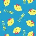 Lemons Kawaii Pattern. Vector seamless Texture Of Happy Yellow Lemons on a blue background