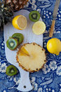 Lemons, kiwi and a pineapple Royalty Free Stock Images