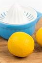 Lemons and lemonade plastic strainer Stock Photos