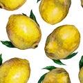 Lemons seamless pattern. Watercolor illustration.