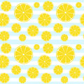 Lemons slices blue white striped seamless pattern Royalty Free Stock Photo