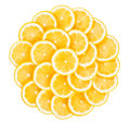 Lemons slices many on white background Stock Photo