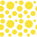 Lemons slices on white seamless pattern Royalty Free Stock Photo