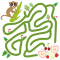 Lemur on the branch and the apple pear strawberry cherry on white background  labyrinth game for Preschool Children. Vector Royalty Free Stock Photo