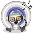 Lemur with headphones