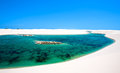 Lencois maranheses national park view of lagoa azul in desert white sand dunes of the in brazil Stock Photos