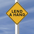 Lend a hand road sign encouraging help or support Royalty Free Stock Image