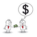 Lend money joe lends at his friend for a business project Royalty Free Stock Photography