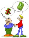 Lending money a friend asks for a loan of the other friend doubt among lend or not Stock Photo