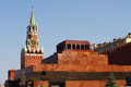 Lenin Mausoleum and Kremlin`s tower at Red Square Royalty Free Stock Photo