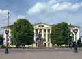 Lenin monument and soviet building in borisov belarus of the civil defense headquarters on the central square of Stock Image