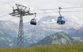 Lenk im Simmental, Switzerland - July 12, 2015: Ski lift in moun