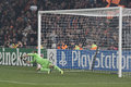 Leno resist shakhtar advances donetsk ukraine november leverkusen goalkeeper bernd makes a save in the champions league match in Royalty Free Stock Image