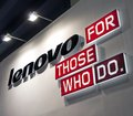Lenovo logo chinese it brand with acrylic luminous characters on the wall of exhibition room Stock Images