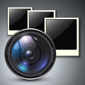 Lens with photo frames Stock Photo