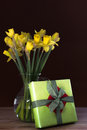 Lent lily daffodil in a glass vase with easter gift Stock Image