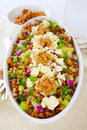 Lentil salad vegetarian meal with lentils walnuts and celery Stock Photos