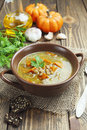Lentil soup with pumpkin green in the bowl Royalty Free Stock Image