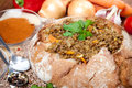Lentil soup served in loaf of bread Royalty Free Stock Photo